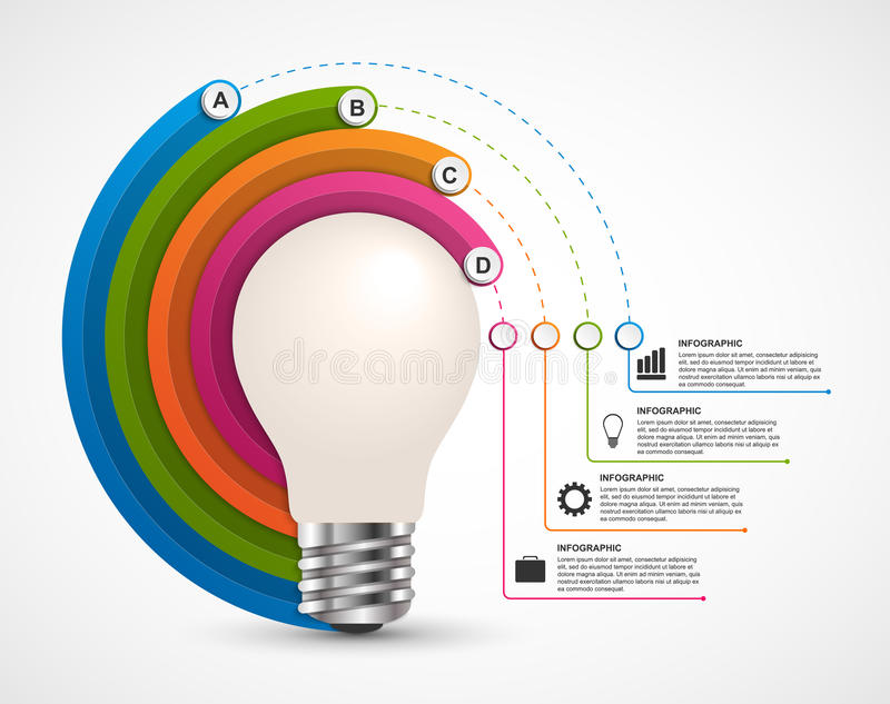 Infographics for business presentations or information booklet. Idea light bulb with a diagram. royalty free illustration