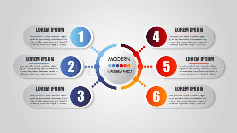 Infographics business 6 steps options concept horizontal timeline process chart template Moderne Fahne des Vektors lizenzfreie abbildung