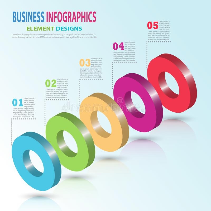 Infographics business template 3D  with Circle royalty free stock photos