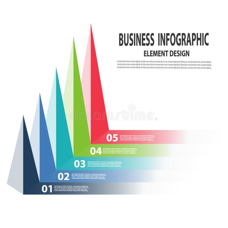 Infographics business template with triangular 5 steps. For Presentation, Sale forecast, Web design, Improvement, Step by Step stock illustration