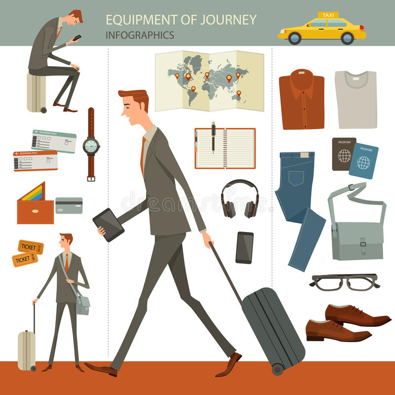Infographics of business travel and journey concept. Infographics of business travel and journey concept, flat design, businesspeople character, objects royalty free illustration