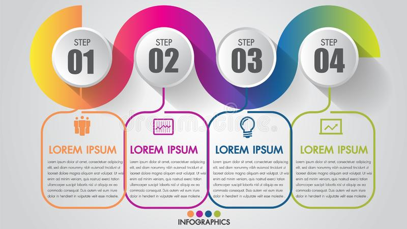 Infographics Chart 4 steps options business timeline modern creative with icon step by step can illustrate vector a strategy. vector illustration