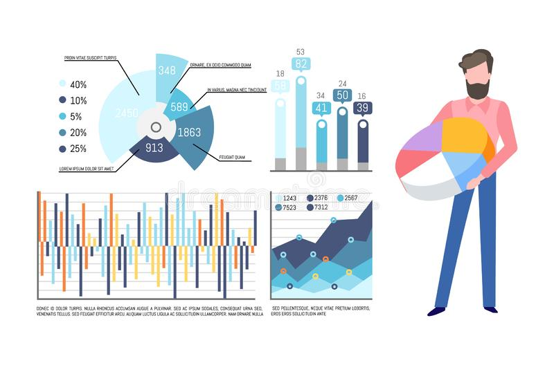Pie Diagram in Hands of Man, Infographics Set. Infographics and charts vector. Businessman with pie diagram having colored sectors. Visualization of data stock illustration
