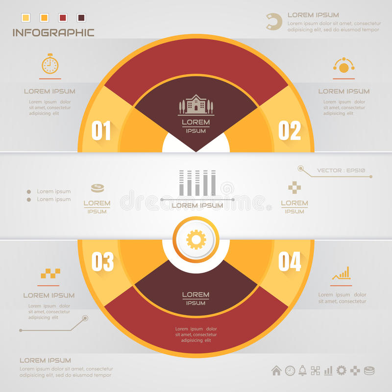Infographics Circle design template with icons, process,. Vector eps10 illustration royalty free illustration