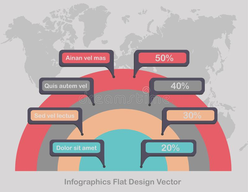 Infographics circles on world map in background light color vector illustration