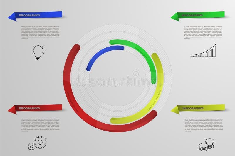 Infographics circolare con le icone del profilo Infographic arrotondato illustrazione vettoriale