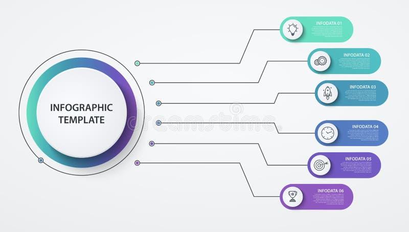 Infographics circonda 6 opzioni o punti Concetto di affari, schema a blocchi, grafico di informazioni, processi del diagramma a t illustrazione vettoriale