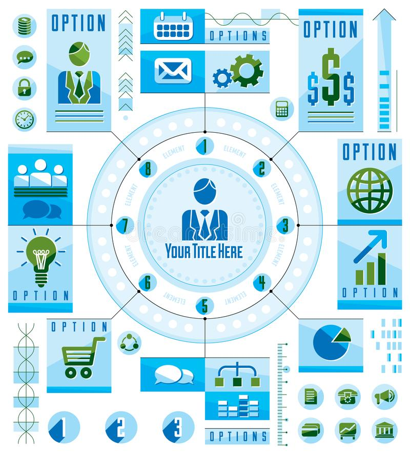 Infographics circular concept with lot of elements, circle divided with sectors and lines. royalty free illustration