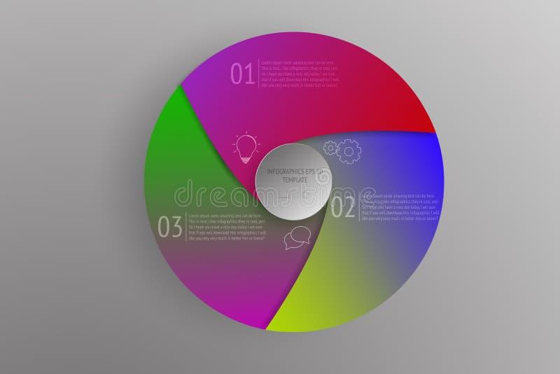 infographics circular del negocio de 3 pasos con pendientes coloridas stock de ilustración
