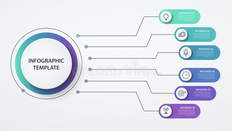 Infographics cirklar 6 alternativ eller moment Affärsidé kvarterdiagram, informationsgraf, processar för pajdiagram vektor illustrationer