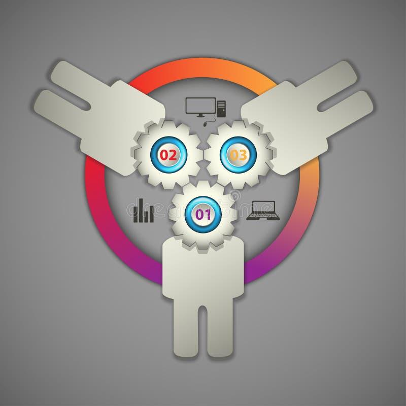 Infographics collectif de calibre d'affaires de travail d'équipe illustration de vecteur