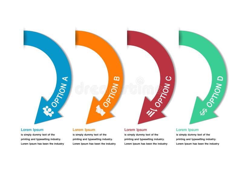 Infographics coloré minimal moderne de flèche illustration libre de droits