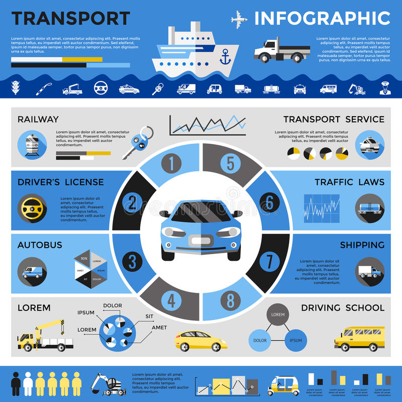 Infographics coloreado transporte libre illustration