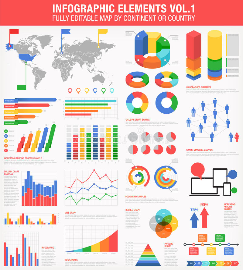 Infographics colorido fijó 1 libre illustration