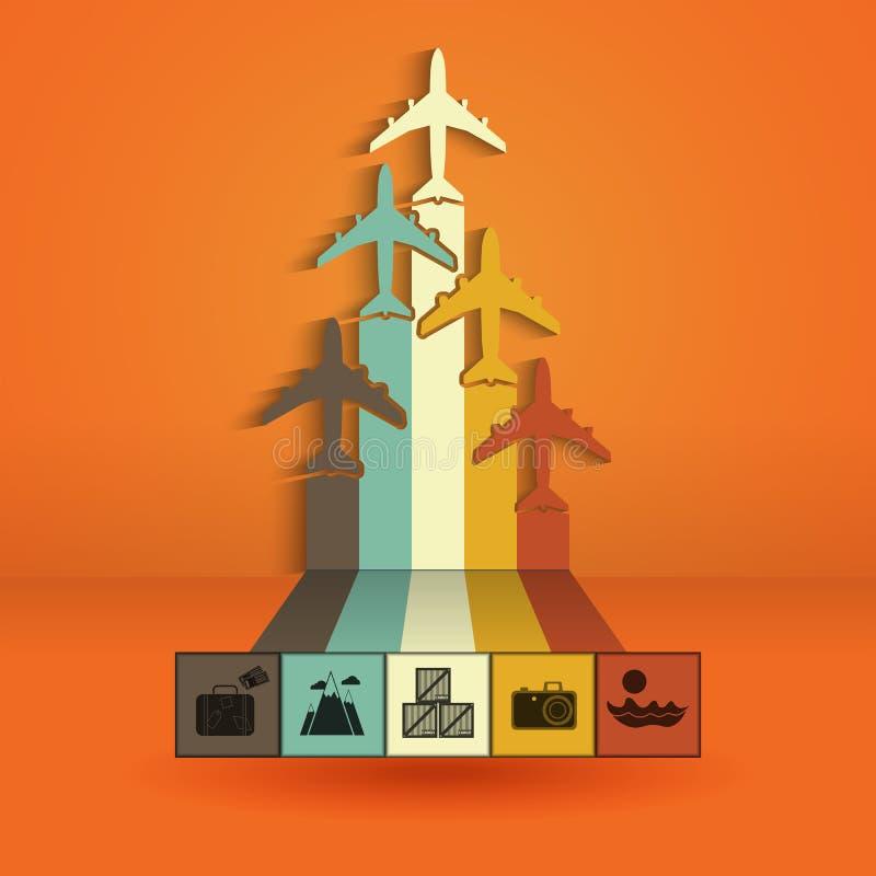 Infographics com aviões coloridos As estatísticas tropeçam, viagem aérea, voos da carga, férias Ilustração do vetor ilustração stock