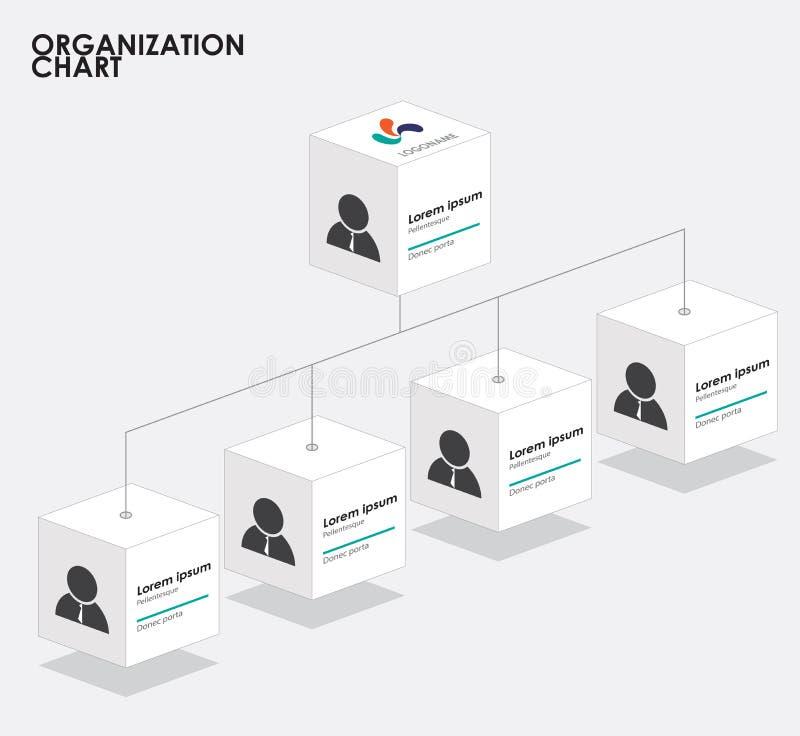 Infographics con el árbol, organización de la carta de organización de la caja ilustración del vector