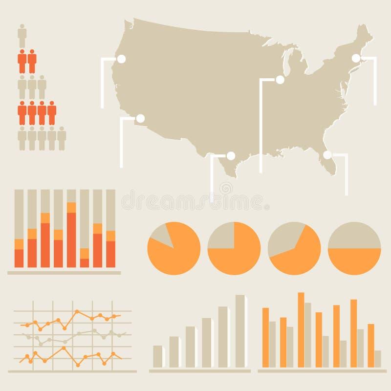 Infographics Con El Mapa De Estados Unidos Fotos de archivo libres de regalías