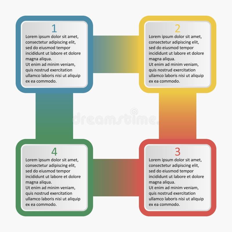 Infographics con i quadrati arrotondati Modello di affari con 4 opzioni, parti, punti o processi Illustrazione di vettore illustrazione vettoriale