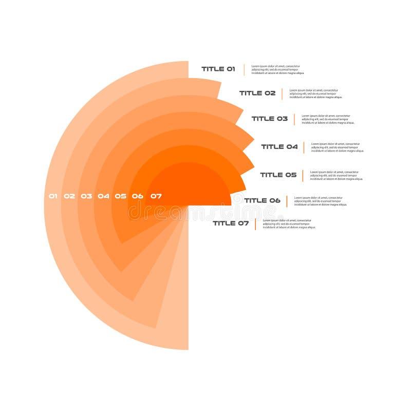 Infographics concêntrico ponto por ponto em uma série de círculo Elemento da carta, gráfico, diagrama com 7 opções, peças ilustração do vetor