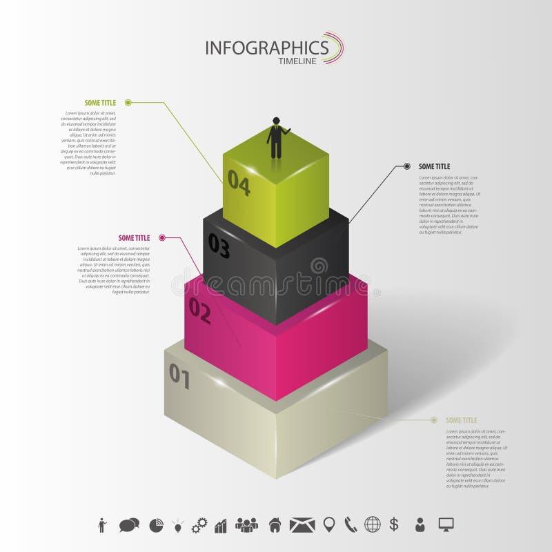 Infographics Conceito 3d abstrato com ícones Vetor ilustração stock