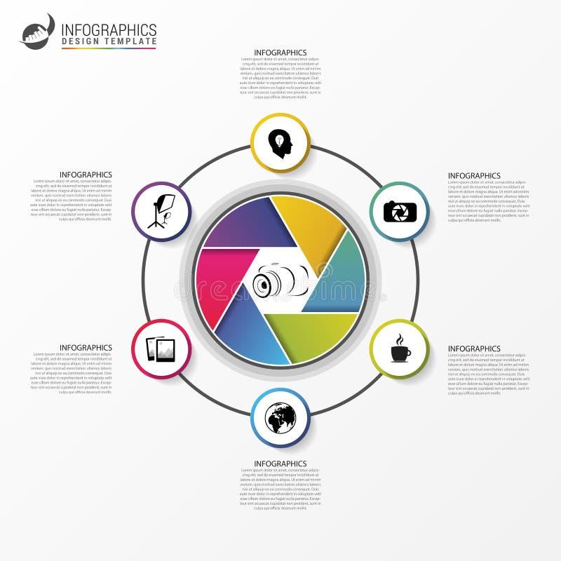 Infographics Conceito para fotógrafo 6 opções Vetor ilustração do vetor