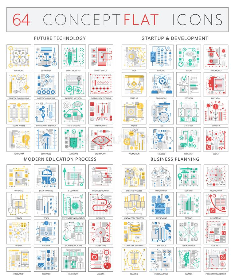 Infographics concept icons of future technology, startup development, modern education process, business finance royalty free illustration