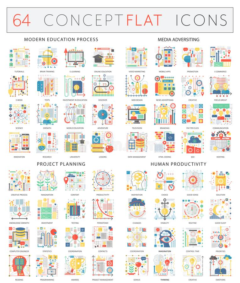 Infographics concept icons of modern education, media adversiting, project planning, human productivity. Premium quality vector illustration