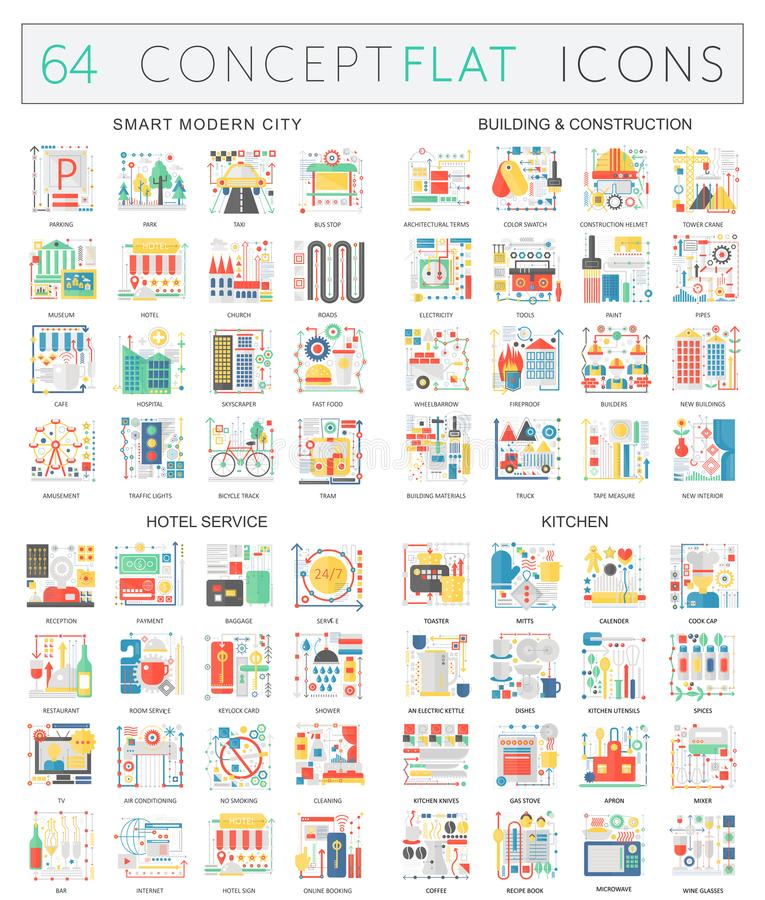 Infographics concept icons of smart city, building construction, hostel service, kitchen. Premium quality vector flat. Design for web graphics isolated vector illustration