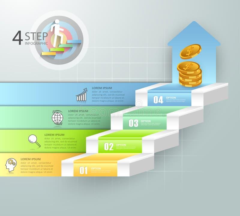 Infographics conceptuel d'escalier d'affaires de conception illustration libre de droits
