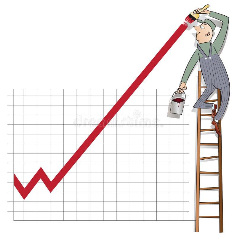 Infographics courant de vecteur Homme d'affaires se tenant sur l'échelle de croissance de dessin d'échelle sur le mur illustration libre de droits