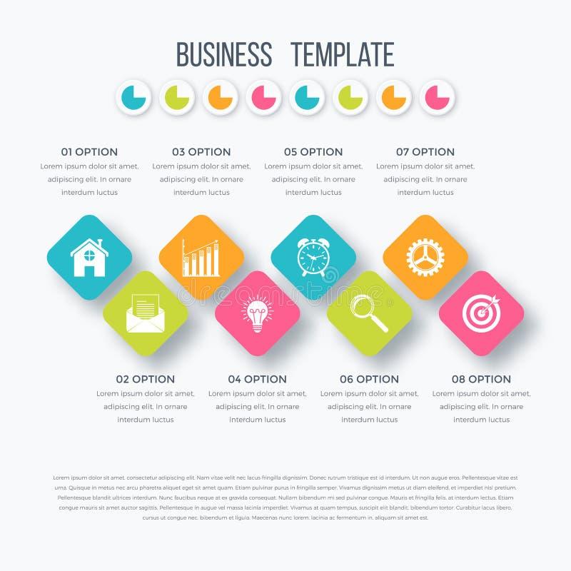 Infographics cuadrado del vector con los iconos libre illustration
