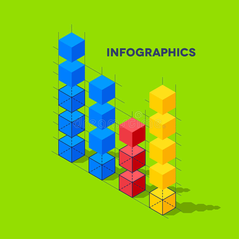 Infographics with cubes. Flat infographics with cubes and wired structures royalty free illustration