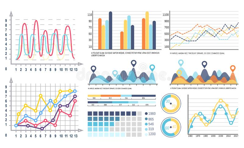 Infographics and Curves Pie Diagrams with Segments vector illustration