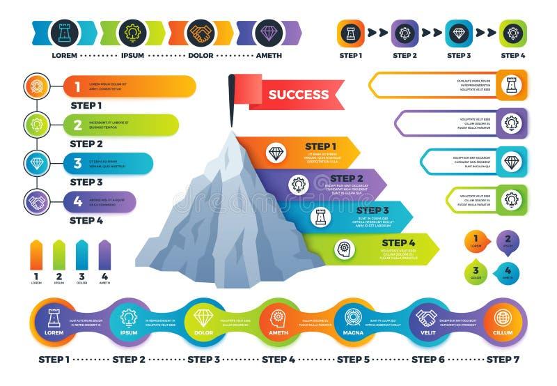 Infographics d'étape Graphique de pyramide avec des options, des infocharts et la chronologie de processus Vecteur infographic d' illustration libre de droits
