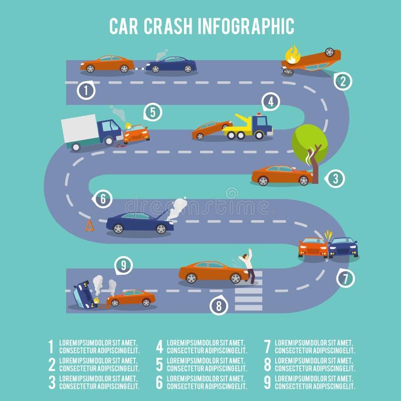 Infographics d'accident de voiture illustration de vecteur