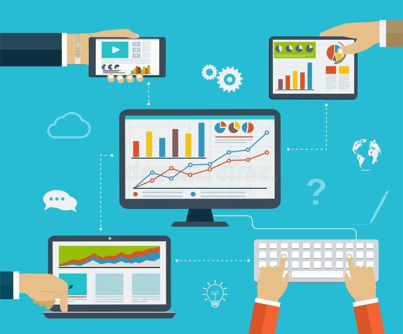 Infographics d'affaires à l'aide de moderne des dispositifs numériques illustration libre de droits