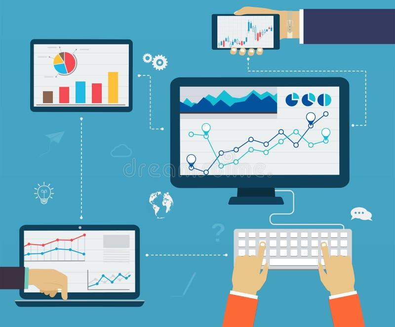 Infographics d'affaires à l'aide de moderne des dispositifs numériques, rapportant illustration libre de droits