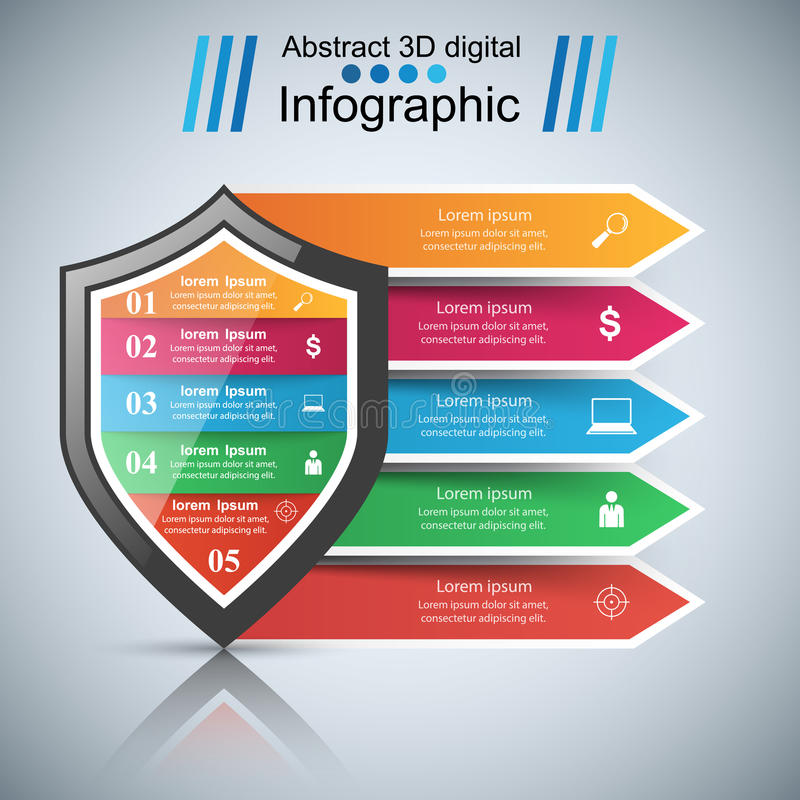Infographics d'affaires de protection Icône de vente illustration libre de droits