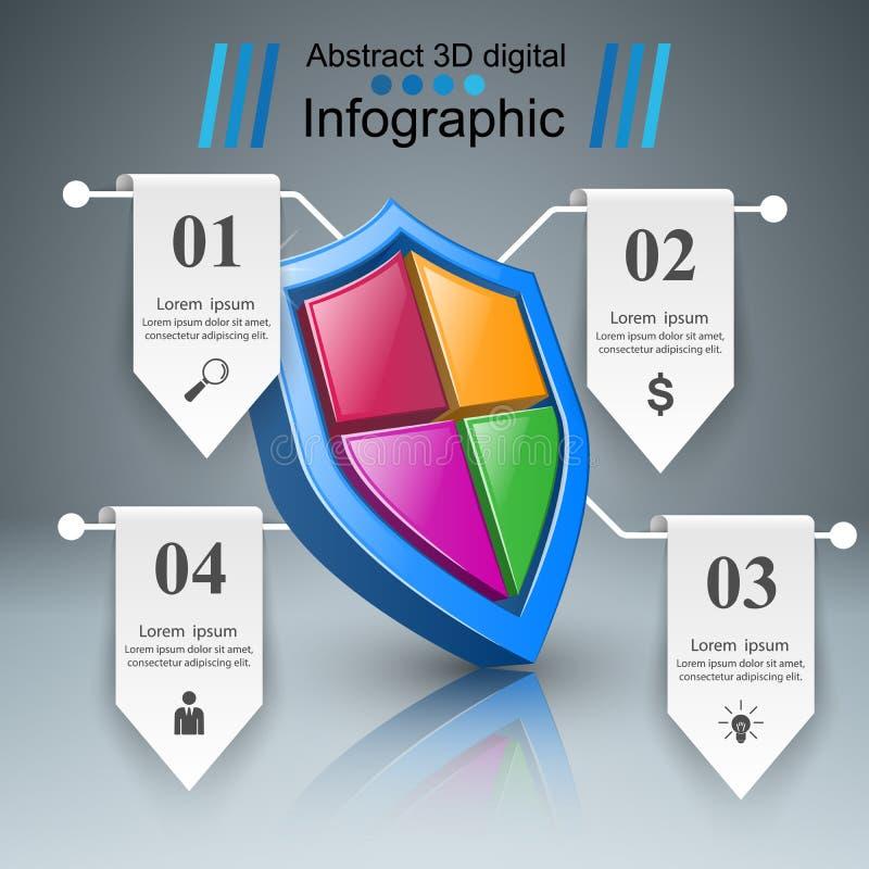Infographics d'affaires de protection Icône de vente illustration de vecteur