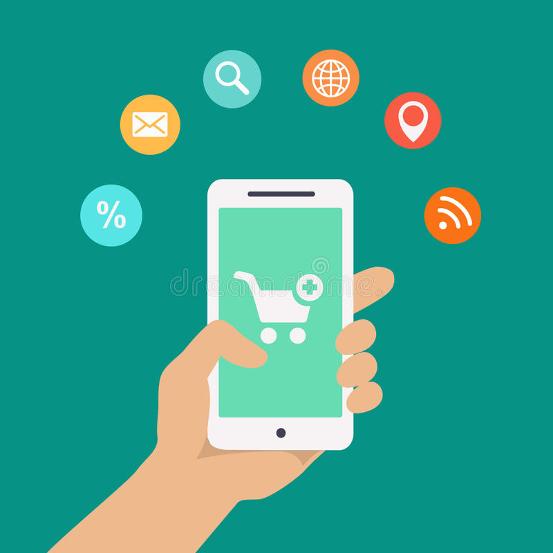 Infographics d'apps de Smartphone avec une main tenant a illustration libre de droits