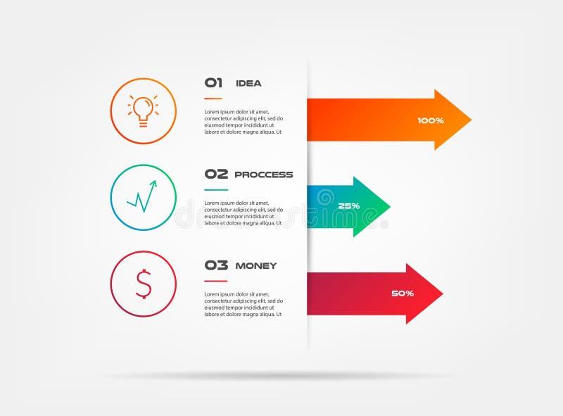 Infographics d'icônes avec des flèches Élément de diagramme, graphique, diagramme avec 2 options - pièces, processus, chronologie illustration de vecteur