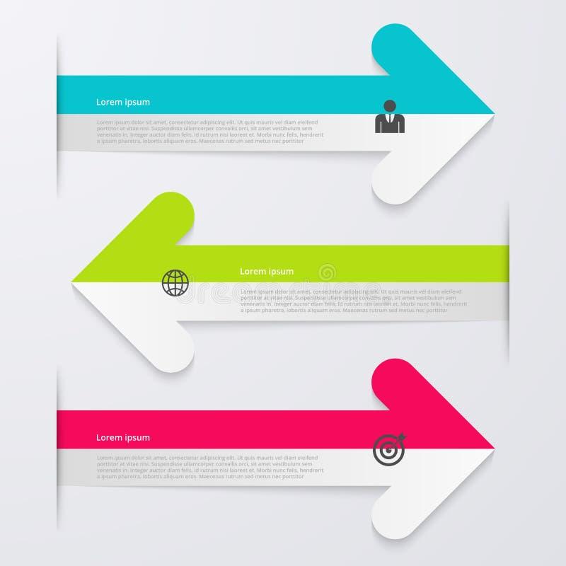 Infographics d'illustration de vecteur 3 flèches illustration libre de droits