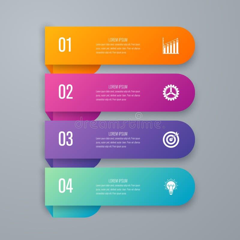 Infographics d'illustration de vecteur quatre options illustration stock