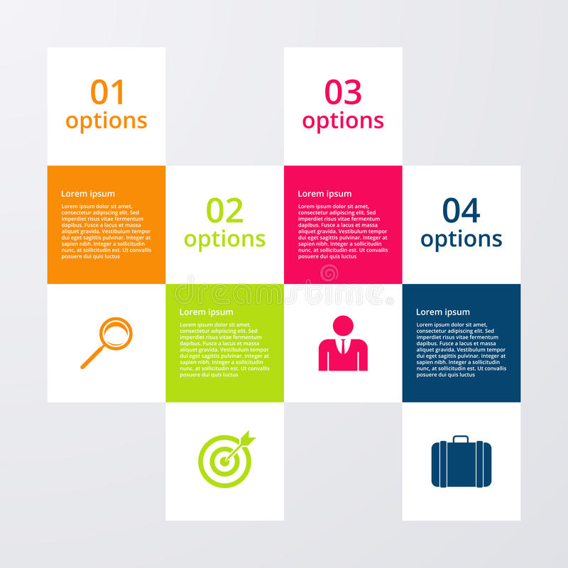 Infographics d'illustration de vecteur quatre places d'options illustration libre de droits