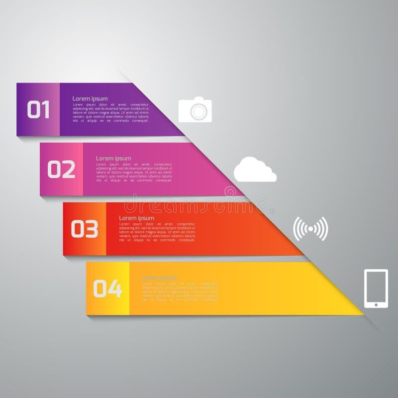 Infographics d'illustration de vecteur quatre rectangles descripteur moderne illustration de vecteur