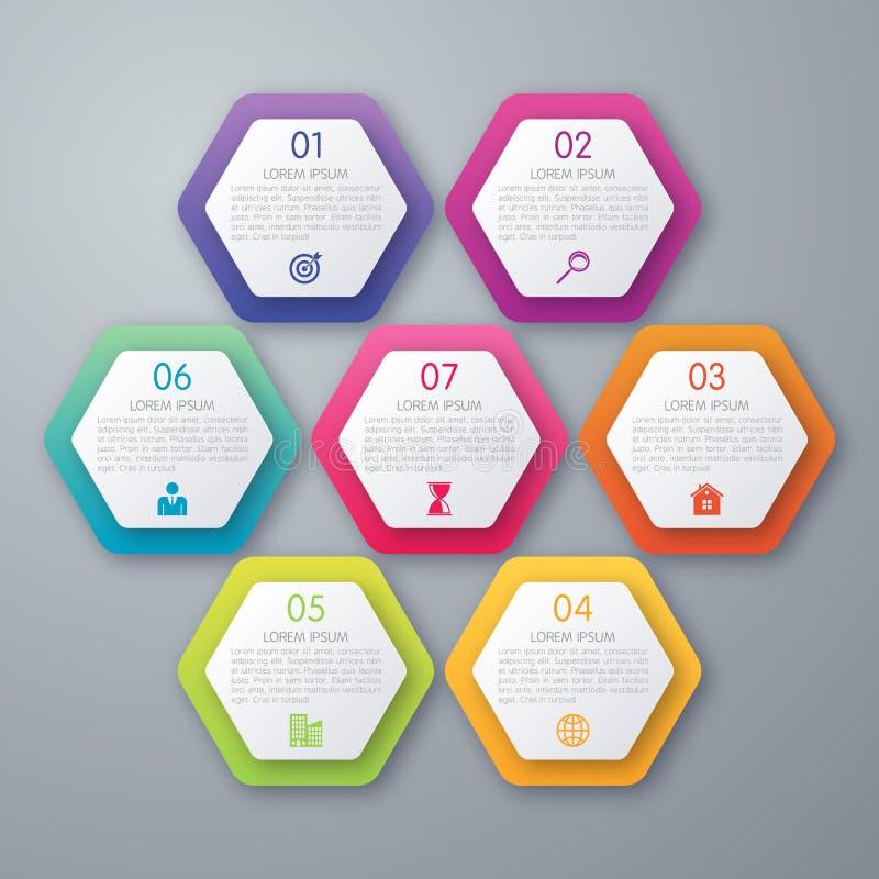 Infographics d'illustration de vecteur sept hexagones illustration stock