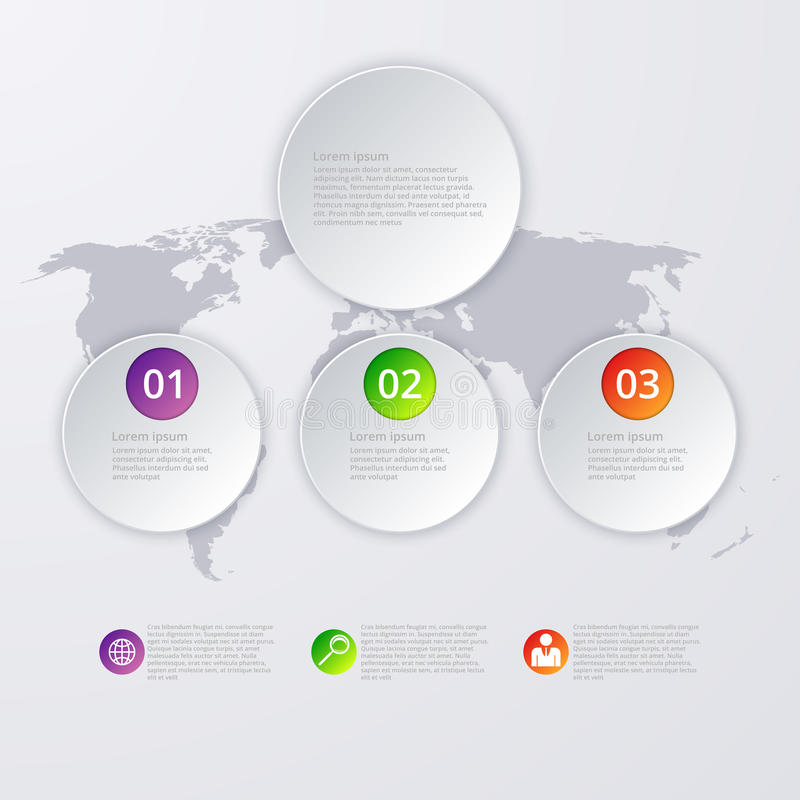 Infographics d'illustration de vecteur trois cercles illustration stock