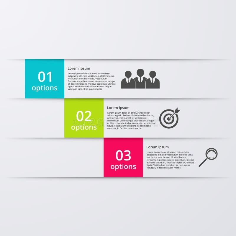 Infographics d'illustration de vecteur trois options illustration stock
