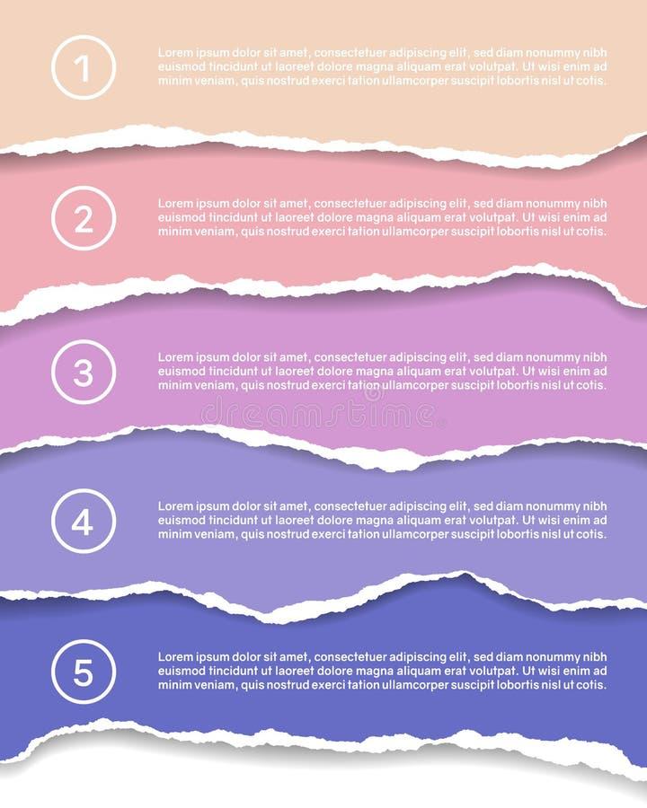 Infographics d'illustration pour cinq étapes avec les papiers déchirés colorés, les nombres et le texte, vecteur illustration de vecteur