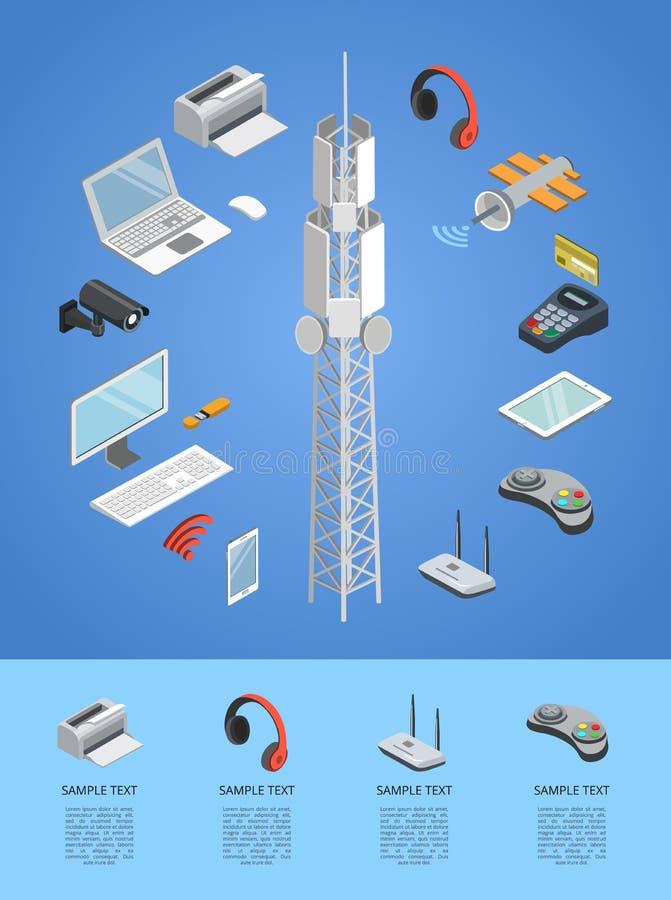 Infographics 3D isométrique de technologies du sans fil illustration libre de droits